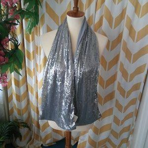 Remington silver gray sequin scarf wrap NWT